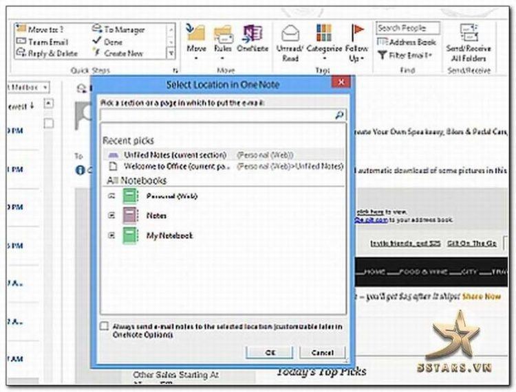 Kết hợp One Note và Outlook Trong Microsoft Office 2013